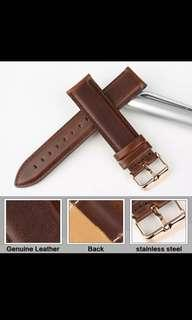 Genuine Leather Watch Strap BROWN AND WHITE