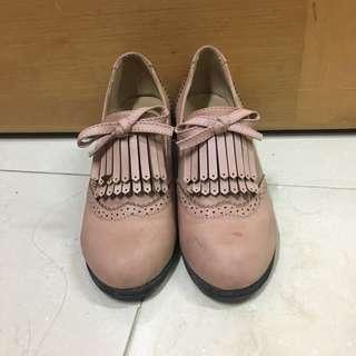 粉紅流蘇高踭鞋