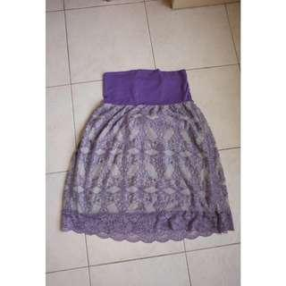 Purple Lace Cocktail Tube Dress