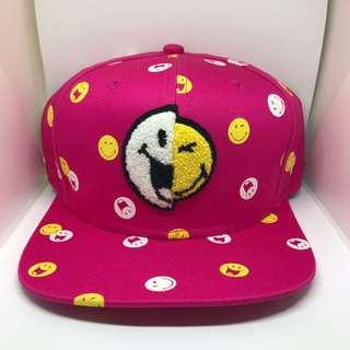 Shocking Pink 粉紅色😀哈哈笑Smiley World Cap  100% NEW  80% Cotton  20% Polyester #LadiesXmasGift
