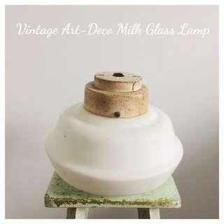YEAR END CRAZY SALE : Vintage Milk Glass Lamp Shade