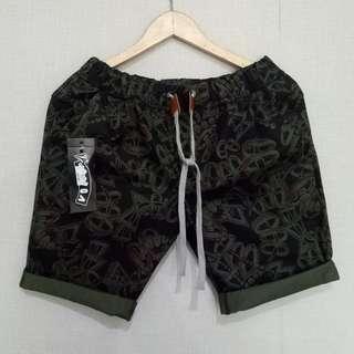 baju kecee - Celana Pendek Printing Black Mix Green Army