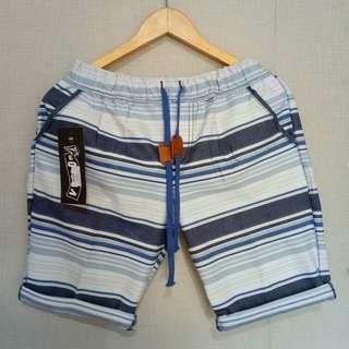 baju kecee - Celana Pendek Printing White Stripes Blue