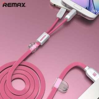 🚚 REMAX 2 In 1 USB Cable with Magnetic,Data Sync Cable for iPhone and Android Smartphone