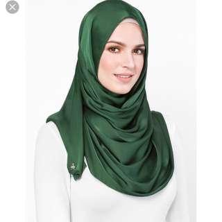 New Satin Silk dUCkscarf shawl in Eden