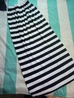 FREE ONGKIR rok panjang strip hitam putih maxi striped skirt
