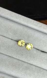 1+1 total 1.32ct heated yellow sapphire