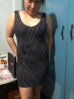 Christmas Party sexy greyish black body con. Fits up to 55kg lady. Preloved.