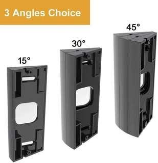 3-Pack Adjustable ( 15 to 45 Degree) Ring Video Doorbell Pro Angle Mount Corner Wedge Kit Angle Adjustment Adapter Mounting Plate Bracket for Ring Video Doorbell Pro (More angle choices),Black •E189•