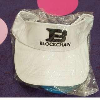 🚚 全新 半遮陽帽 大B刺繡字樣 BLOCKCHAIN(白)帽圍整調整 中性款~男女都可以使用
