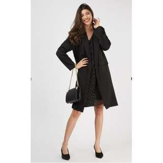 Double Breasted Long Sleeve Coat Lapel Trench Coat Black Trench Coat Brand New