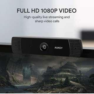 P11 AUKEY FHD Webcam, 1080p Live Streaming Camera with Stereo Microphone, Desktop or Laptop USB Webcam for Widescreen Video Calling and Recording