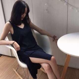 Pinstripe Slit Dress