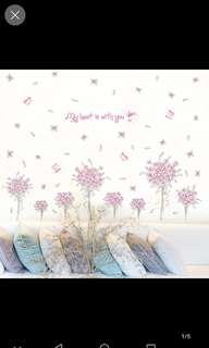 Wall stickers living room TV background wall decoration romantic pink flower group stickers bedroom warm room wall stickers