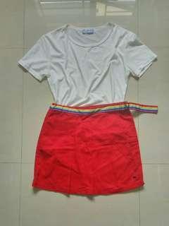 Ulzzang red rainbow skirt