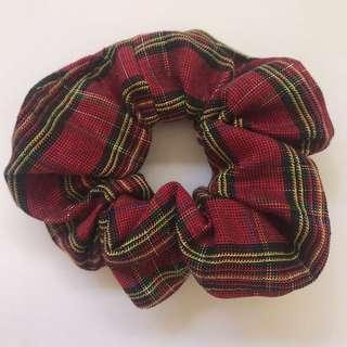 Handmade Christmas cotton red stripe scrunchie hair accessory