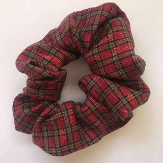 Handmade Christmas cotton checkered red scrunchie hair accessory