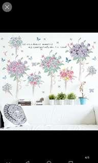 Romantic Hydrangea Bouquet Wall Sticker Bed Bedroom Warm Decoration Living Room TV Background Wall Sticker Sticker Can be removed