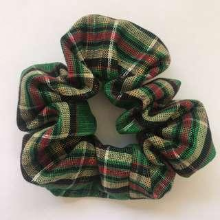 Handmade Christmas cotton green stripe scrunchie hair accessory