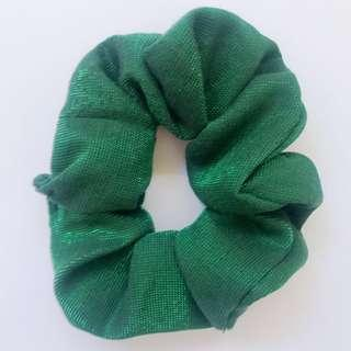 Handmade Christmas cotton green scrunchie hair accessory