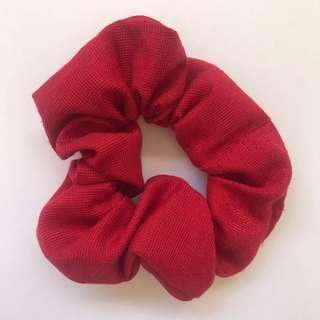 Handmade Christmas cotton red scrunchie hair accessory