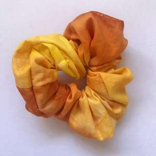 Handmade tie-dye cotton orange scrunchie hair accessory