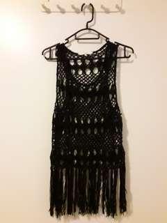 black crochet singlet with tassels