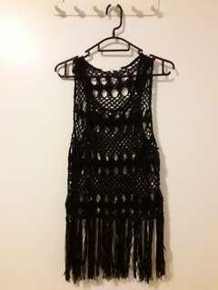 black crochet top with tassels