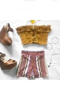 Stripe stretchy festival shorts