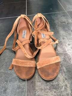 Steve Madden tan suede lace up sandals
