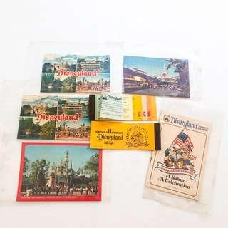 Lot of 7 Pcs DISNEY Disneyland Guide Summer 1975, Tickets and Postcards Vintage