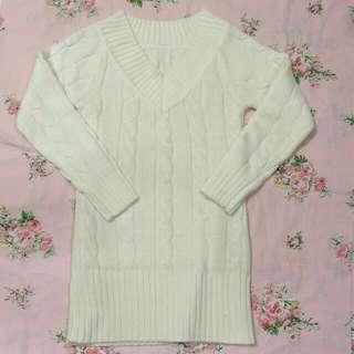 🚚 V領長版包臀毛衣洋裝