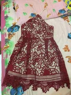 Halter dress love bonito red lace / maroon
