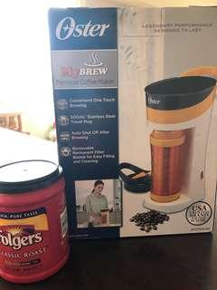 Oster coffee brewer & Folgers coffee