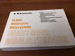Kawasaki KLR650 motocycle owner's manual