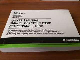 Kawasaki ER6N owner's manual motocycle