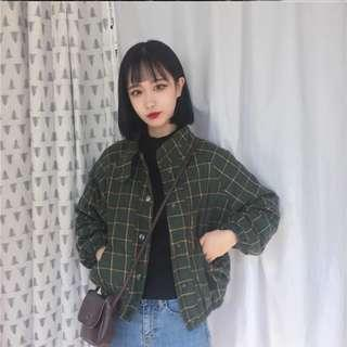 🚚 Plaid / checkered deep green oversized outerwear