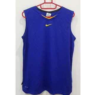 全新有吊牌100%專櫃購入NIKE 女性球衣(藍)運動排汗 路跑背心半碼 透氣彈性運動背心(無襯墊)適合M 泰國製