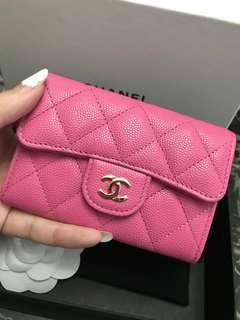 💝BNIB💝19C Chanel Card Case Pink Caviar Ghw Slg Wallet #26