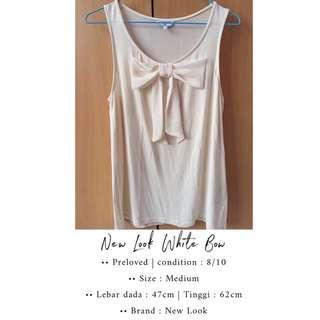 New Look White Bow   Preloved