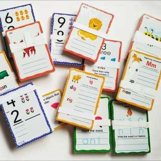 Write on and off flashcards ABC, Numbers, 3 letter words