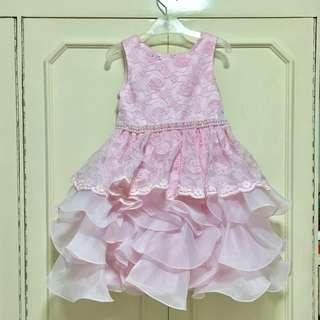 Baby Pink Formal Dress For Kids with Petticoat