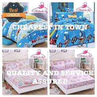 100% Cartoon Characters Fitted Super Single Bedsheet