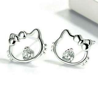 Shiny 925 Sterling Silver Cute Hello Kitty Cat Crystal Earring