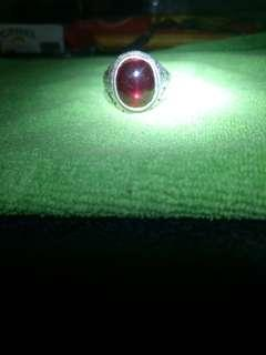 6 rays of Star Ruby gemstones with silver ring