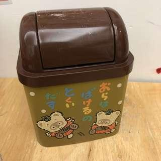 Sanrio 1989年 浣熊日記 中古 垃圾桶仔(蓋頂有花,桶身有退色情況) 絕版罕有