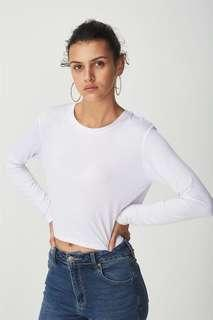 Cotton On Cropped Baby Tee Long Sleeve