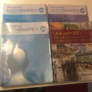 Secondary Two School Textbooks Math 2A,2B and History