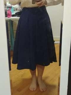 藍色中長裙 long skirt