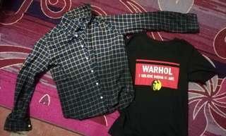 Kemeja Kotak & T-shirt Andy Warhol